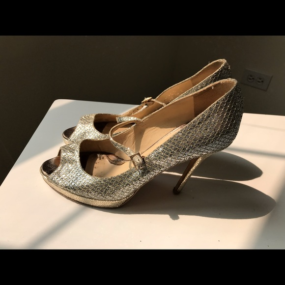 0cf6349376f Jimmy Choo Shoes - Jimmy Choo Silver Open Toe amina glitter 36.5